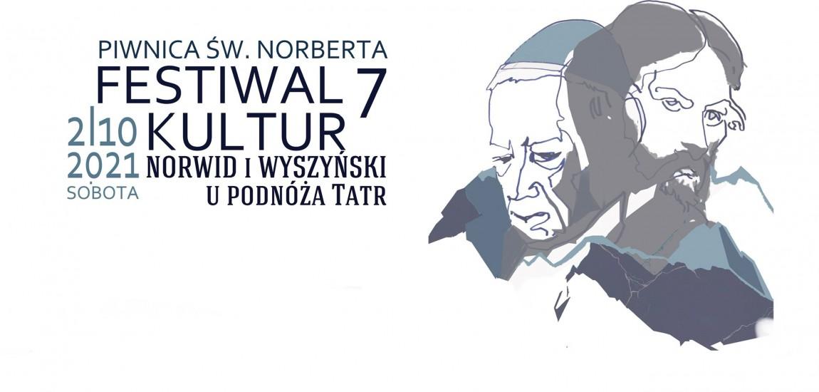 Plakat festiwalu grafika przedstawiająca uproszczone wizerunki Wyszyńskiego i Norwida